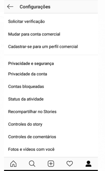 configurações do Instagram Insights