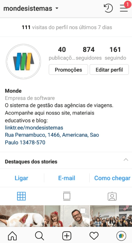 página inicial do Instagram