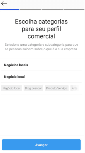 Categorias de perfil comercial do instagram