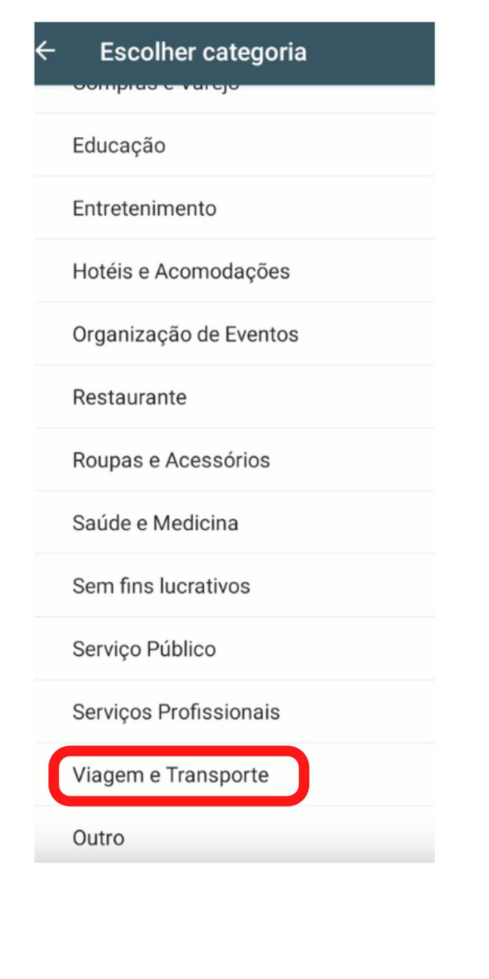Categorias no WhatsApp Business