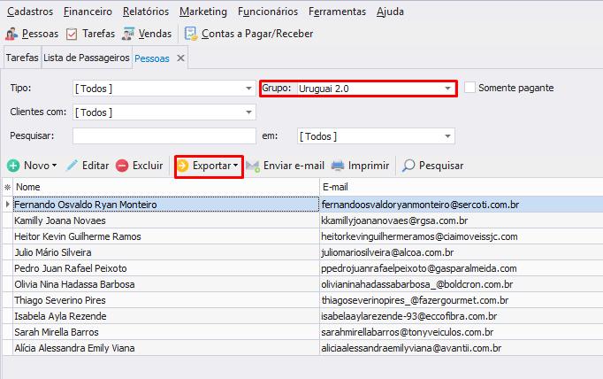 tela da ferramenta monde sistemas com dados para prospecção