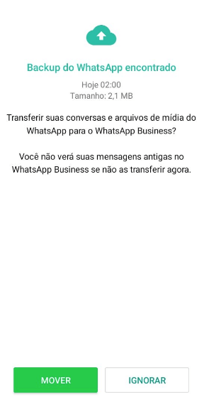 Tela de backup do whatsApp