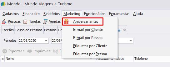 relatório de aniversariantes do Monde para e-mail marketing