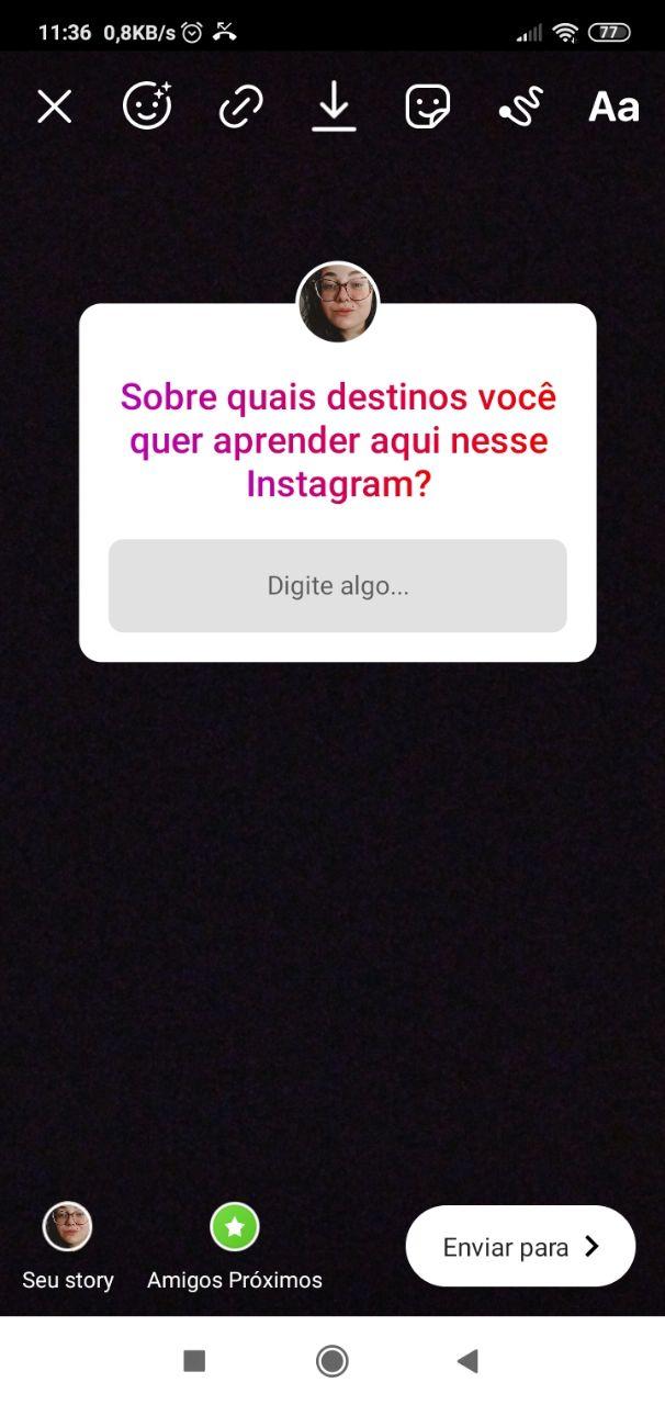 caixa de perguntas no Instagram para temas de storytelling